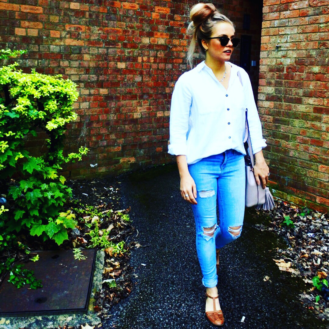 One item styled 4 ways – ripped denim jeans