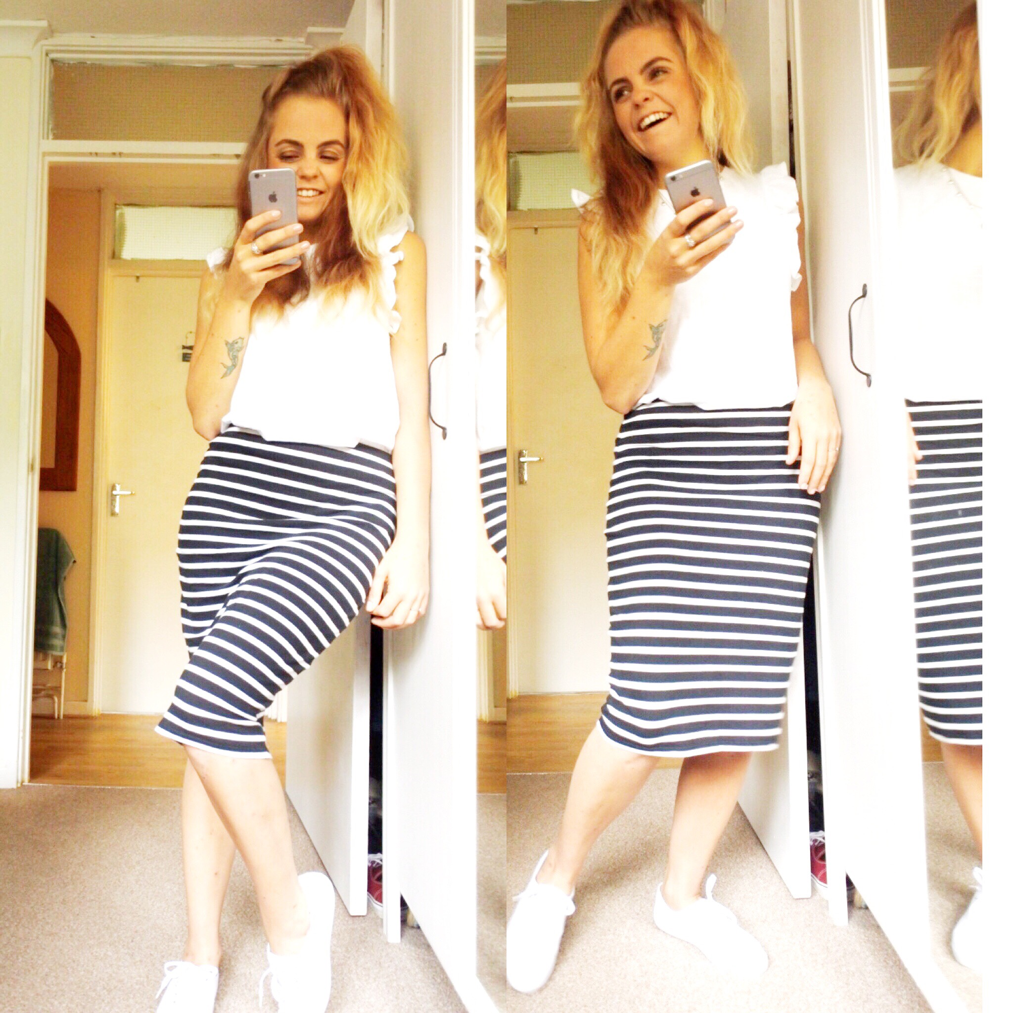 One item styled 4 ways – white trainers